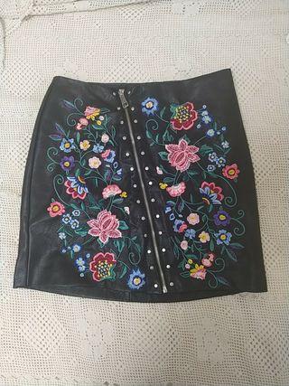 mini falda de piel auténtica