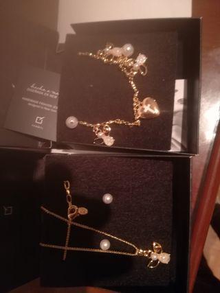collar, pendientes y pulseras baño de oro de 24kil