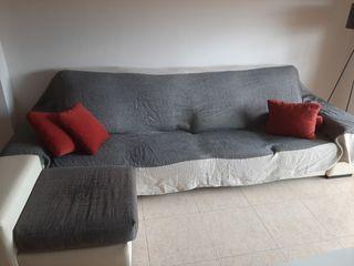 Sofa Chaiselongue Marrón y Beige