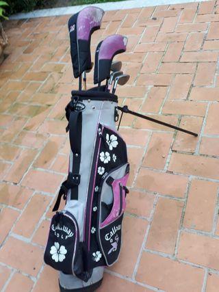 bolsa y palos de golf niña niño ó junior