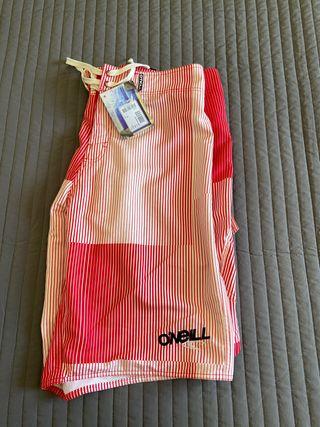 Bañador O'Neill rojo y blanco talla 34-44