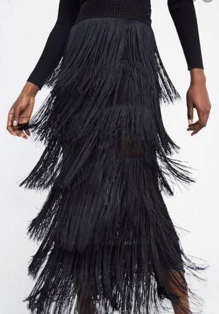 Falda flecos bordado cintura ZaraLimited Edition