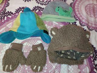 lote gorros y guantes niño bebé
