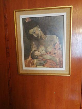 cuadro antiguo de mujer amamantando a un niño
