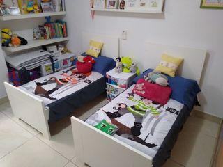 2 cunas convertibles en cama + colchón + sábanas
