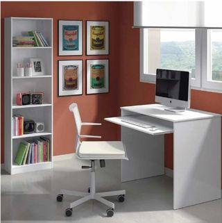 Pack despacho blanco escritorio estanteria