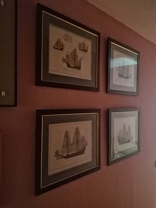 Cuatro cuadros con motivos de barcos antiguos