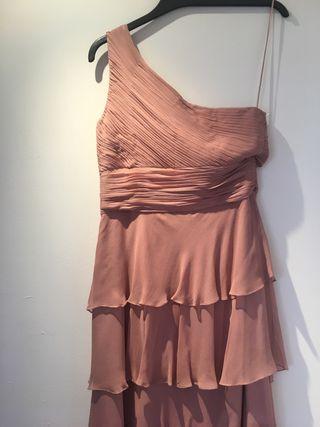 Vestido de noche largo rosa de Adolfo Dominguez