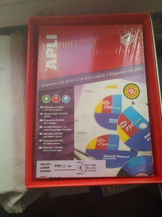 Etiquetas CD-DVD con dorso opaco caja de 100 folio