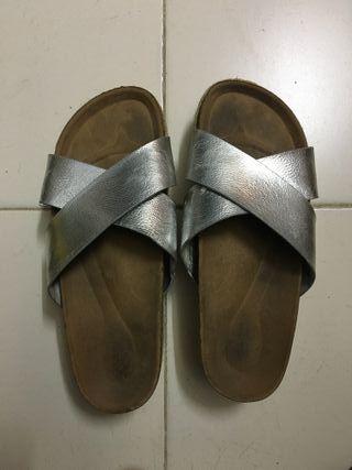 Sandalias plateadas plataforma
