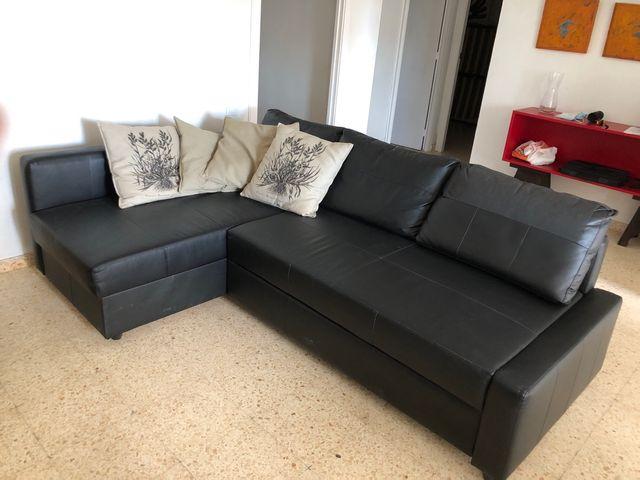 Sofá chaise long, Friheten imitación cuero negro