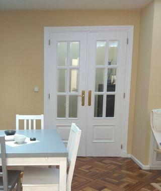 Puerta doble de paso para salón acristalada.