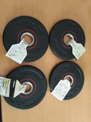 Discos y pesas de caucho de 1kg