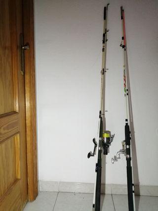 2 cañas para pesca