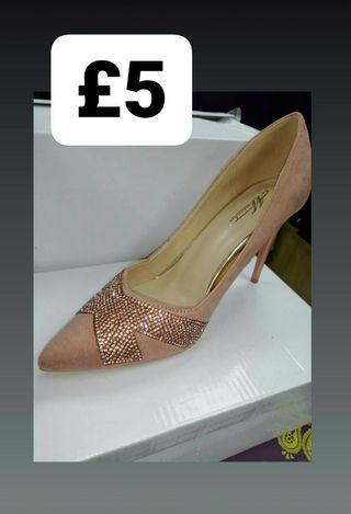 Pink Suede Diamante Heels