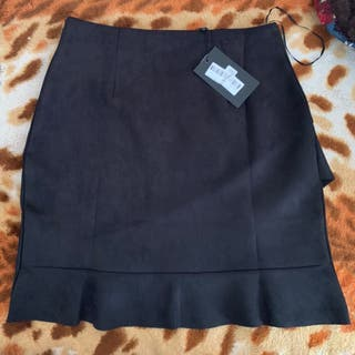 Frill wrap suede skirt