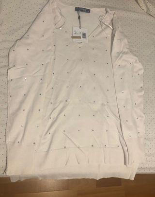 Jersey blanco con lentejuelas