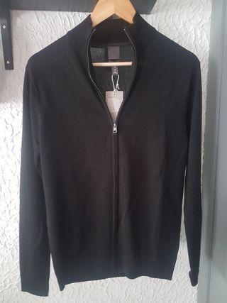 Chaqueta punto fino negra H&M hombre