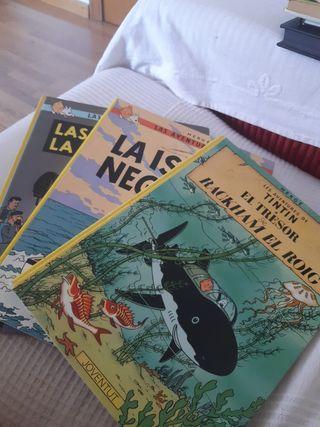 Tres cómics de las aventuras de Tintin