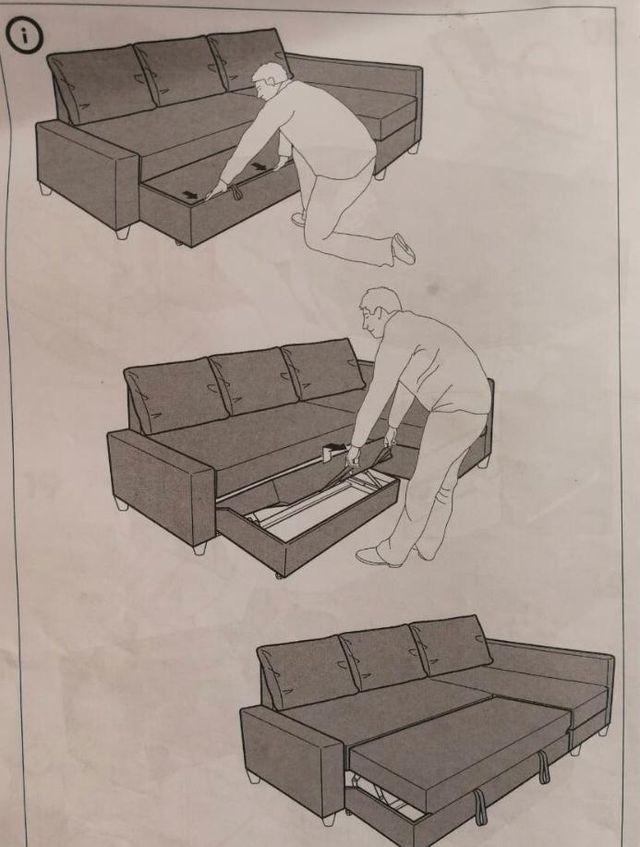 Sofa Chaiselongue, Friheten imitación cuero negro