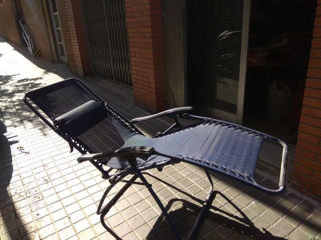 Tumbona reclinable azúl marino