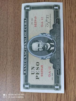 Billete 1 peso cubano, perfecto