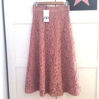 Falda larga encaje Zara S
