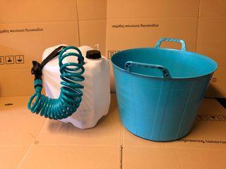 Soporte alcachofa ducha camper turquesa