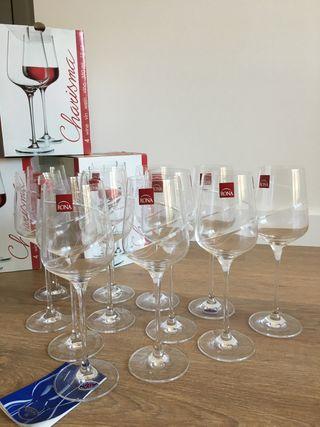 Copas de vino tinto de cristal de bohemia