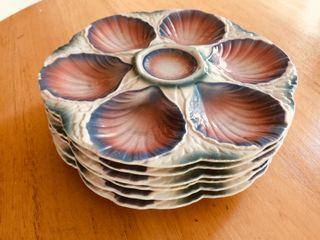 6 Platos para ostras vintage Digoin Made in France
