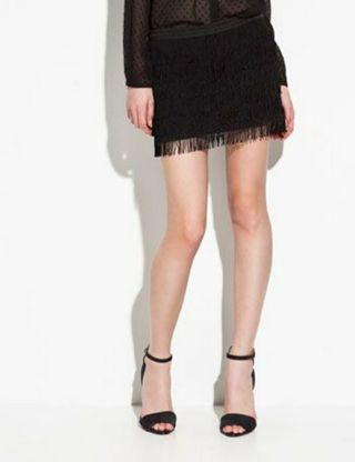 Falda flecos negra Zara talla M
