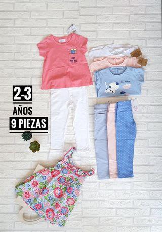 camisas y legging de niña de 2 a 3 años