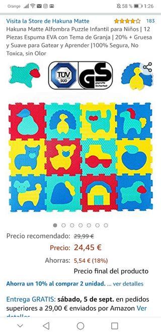 alfombra puzzle bebes acolchada