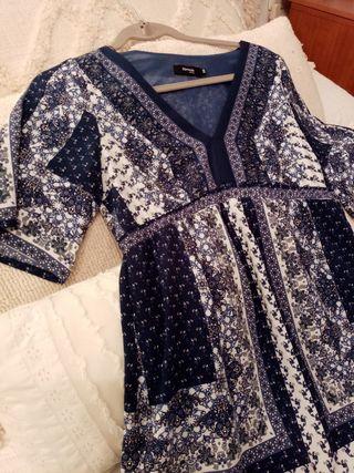 vestido Otoñal en tonos azules. Forrado