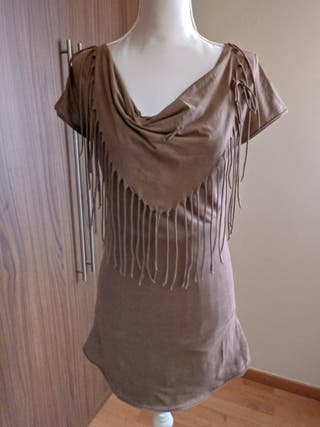Vestido elastico de flecos