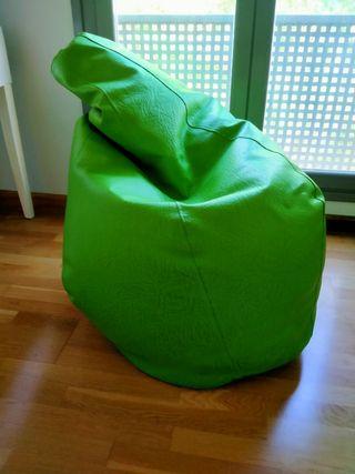 Puff verde piel