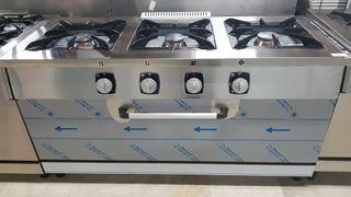 cocina 3 fuegos más horno industrial