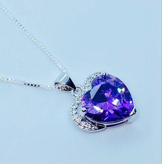 Sterling silver Purple Heart necklace