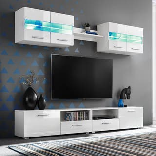 Mueble de salón de TV con luces LED blanco 200cm