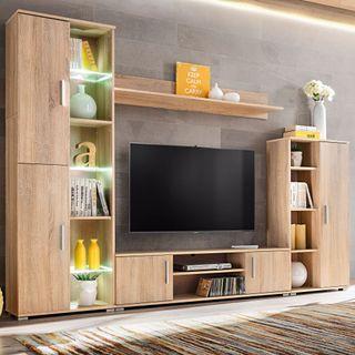 Mueble de salón para TV con luces LED 260cm