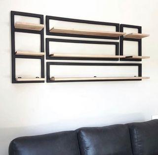 Set de estante in hierro y roble