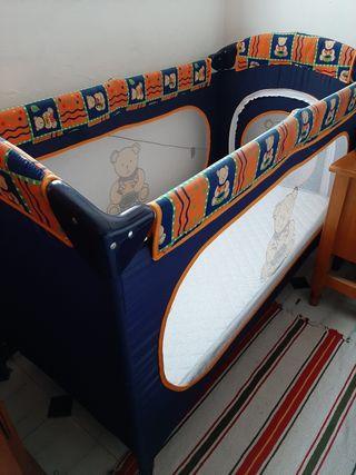 cuna de viaje + colchón cuna fibra de coco
