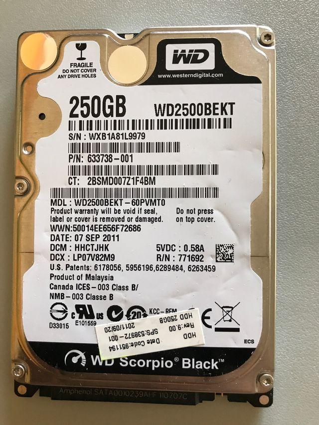 "Disco duro 250gb. 2,5"""" No envios"