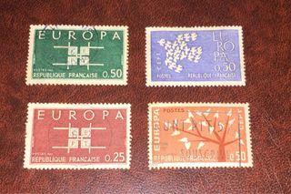 Lote de 4 sellos de Francia(Europa CEPT)1961/63!
