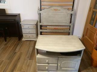 conjunto habitación infantil con cabecero, armario