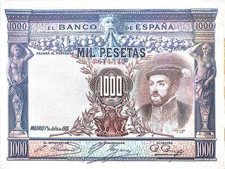 Billete de mil pesetas de 1925. España