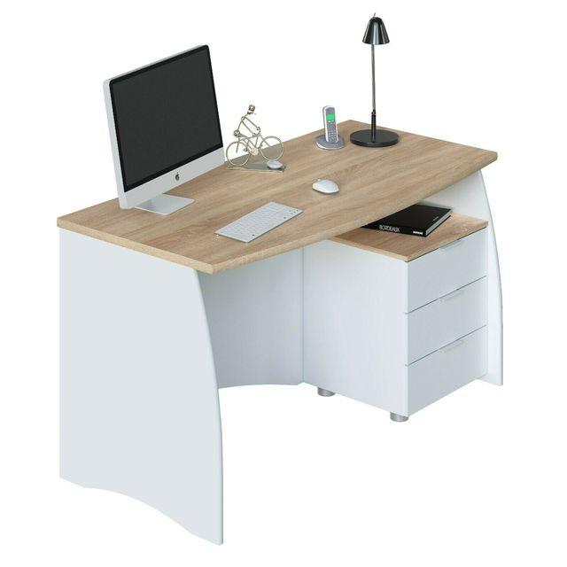 Mesa de escritorio u oficina con buc, Blanco Artik