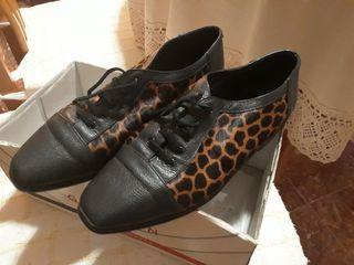 Zapatos manoletina animal print leopardo T.37