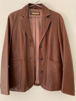 Chaqueta de cuero Vintage de color marrón