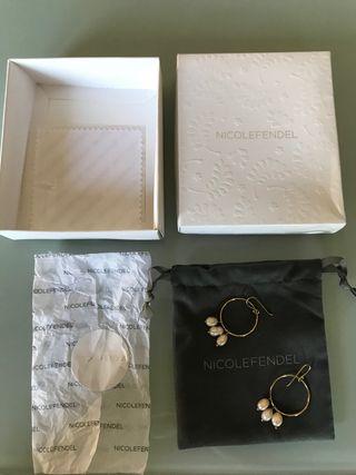 Pendientes plata oro y perlas Nicole Fendel